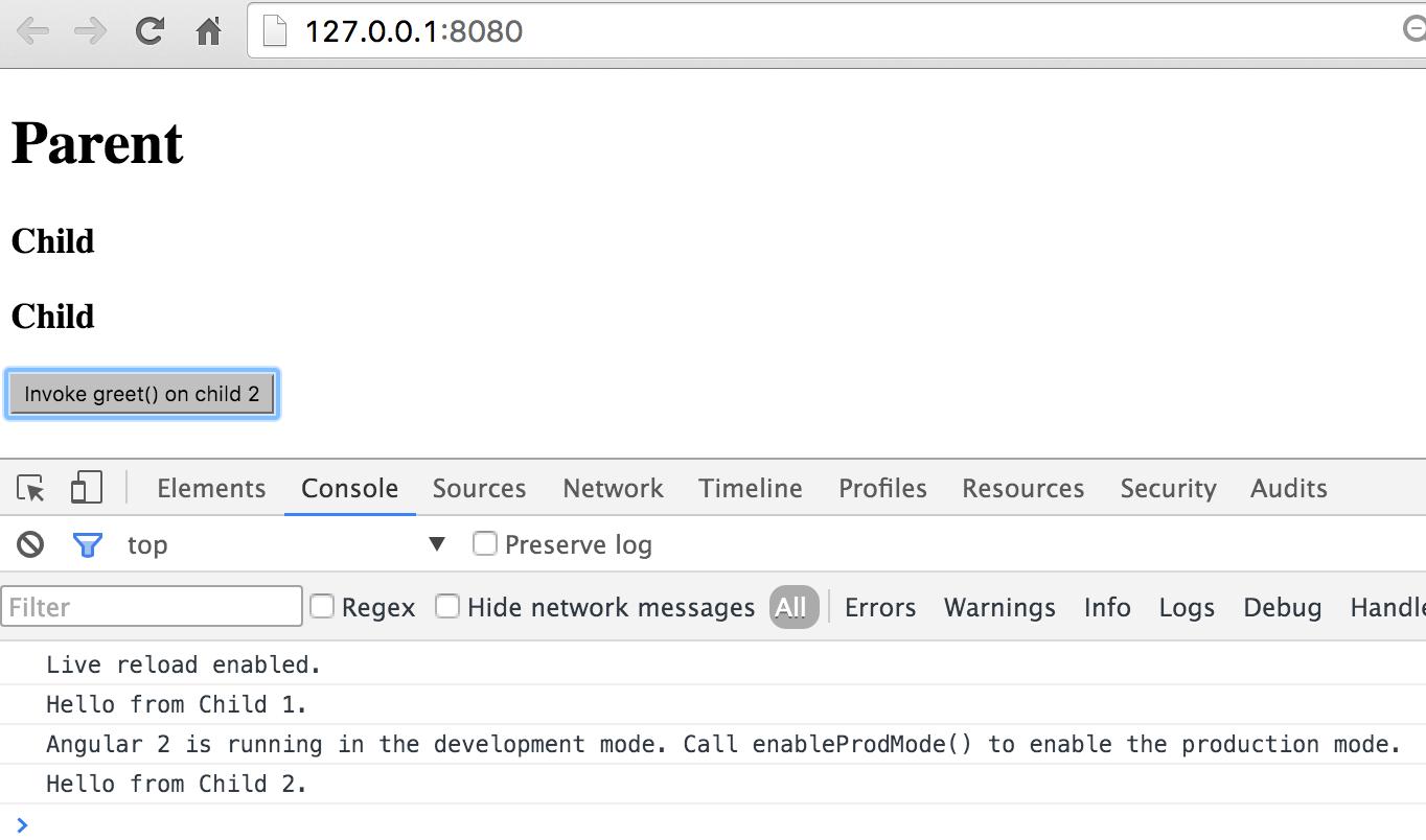 Angular 2: Exposing Child Component's API